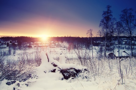 scandinavian winter: Winter sunny sunrise landscape with trees and small swedish town, north scandinavian seasonal hipster background.