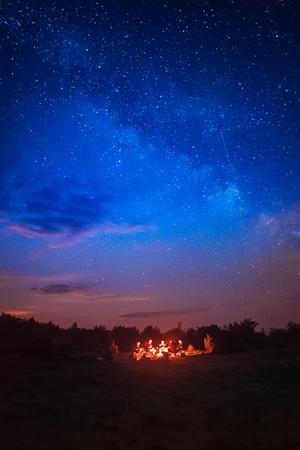 Camping under star sky