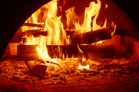 mantelpiece: Fire in mantelpiece Stock Photo