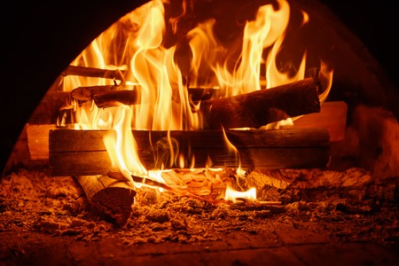 Fire in mantelpiece Stock Photo