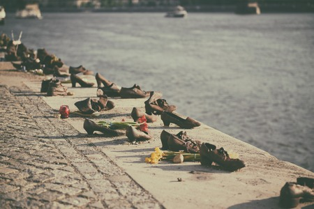 jewish: Shoes on the Danube embankment Stock Photo