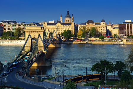 Danube embankment of Pest Stock Photo