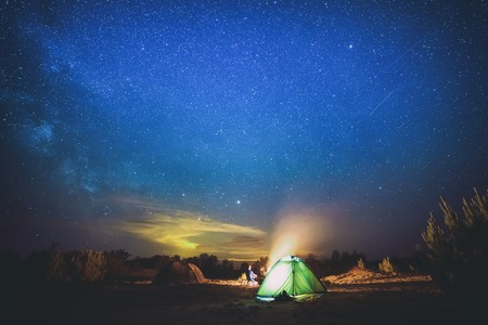 Camping under star sky