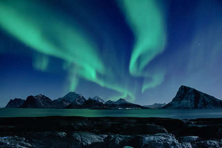 Northern Lights in Norway Standard-Bild - 97650806