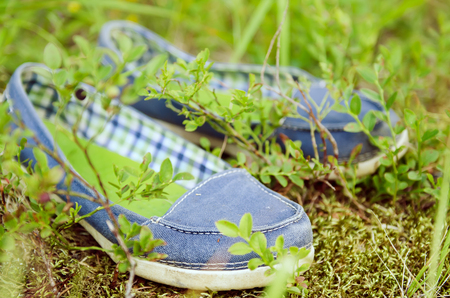 Moccasins in the grass