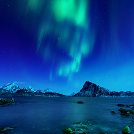 Northern Lights in Norway 스톡 콘텐츠