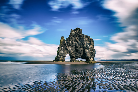 Northwest Iceland. Hvitserkur - basalt rock in the form of a huge mammoth. The concept of extreme northern tourism Stock Photo