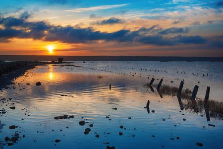 Sunset on the lake Stockfoto