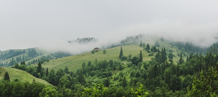 Little house on a green mountain slope Фото со стока