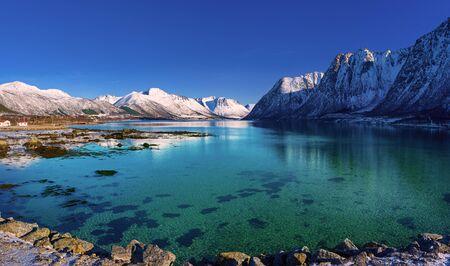 Zimowe jezioro w Norwegii