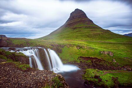 Kirkjufell mountain and waterfall Reklamní fotografie - 129876582