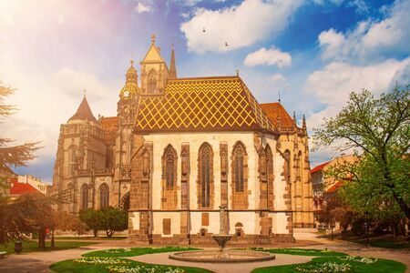 St. Michael chapel and St. Elisabeth cathedral in the main square of Kosice city in eastern Slovakia. Stock Photo - 130102781