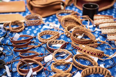 Leather bracelets at market
