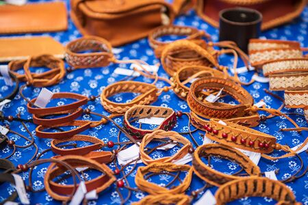 Leather bracelets at market