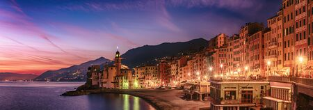 Beautiful Small Mediterranean City at sunset with colorful sky - Camogli, Italy, European travel