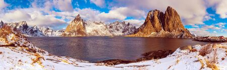 Panoramic view of the famous tourist attraction Hamnoy fishing village on Lofoten Islands, Norway in winter