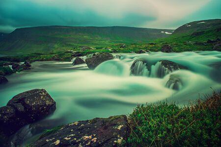 Part of Dynjandi Fjallfoss, waterfall. Iceland. Long exposure Icelandic summer landscape