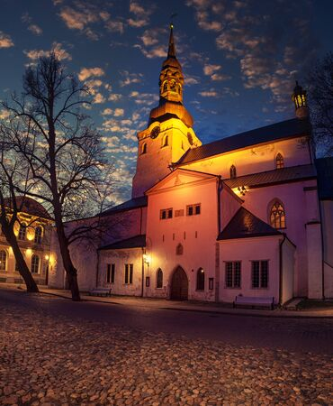 St. Mary's, Dome, Cathedral is a church located on Toompea Hill in Tallinn, Estonia. Night view, travel background. Stock Photo