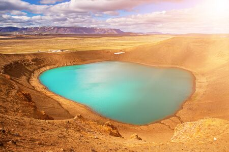 Volcano crater Viti with turquoise lake inside, Krafla volcanic area, Iceland. Natural travel Icelandic background.