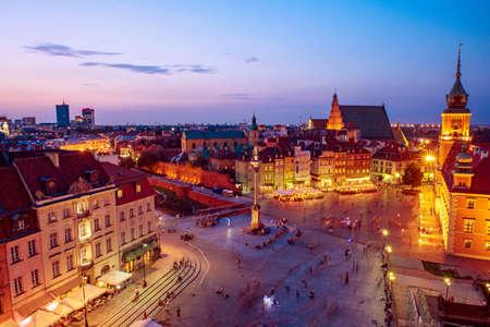 City of Warsaw by night Banco de Imagens