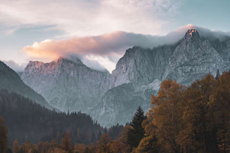 Triglav mountain peak at sunrise