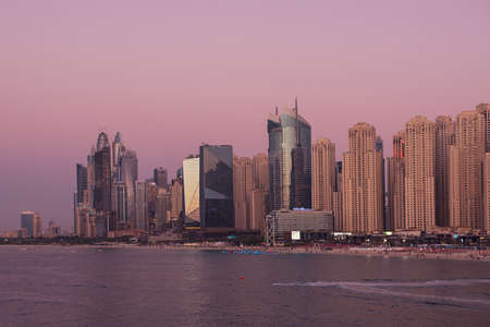 Dubai embankment at sunset