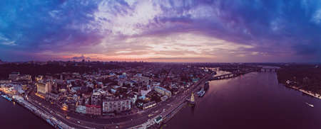 Sunset over Dnipro Stok Fotoğraf