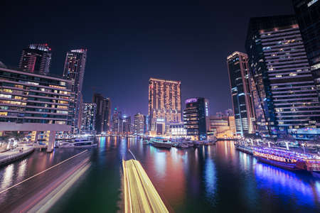 Dubai Marina at night Standard-Bild