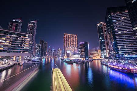 Dubai Marina at night Stock fotó