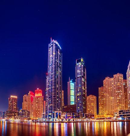 Dubai Marina at night Stok Fotoğraf - 160919498