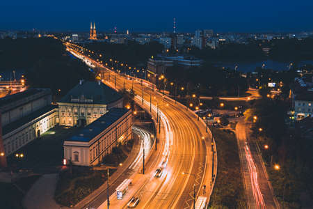 City of Warsaw by night Stok Fotoğraf - 160747027