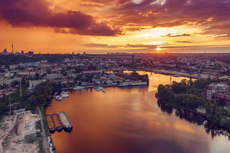 Sunset over Dnipro Stok Fotoğraf - 160747188