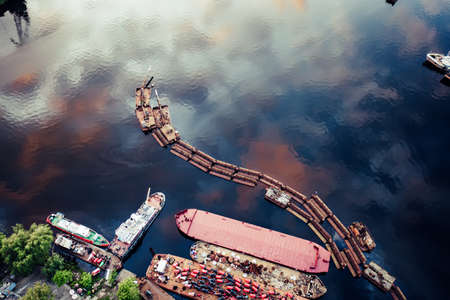 Barge on the lake. Aerial drone view. Stok Fotoğraf - 160747189