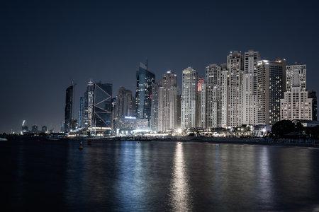 Dubai embankment at night Stok Fotoğraf