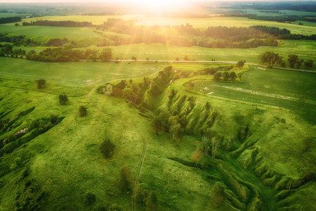 Green fields from above Stok Fotoğraf