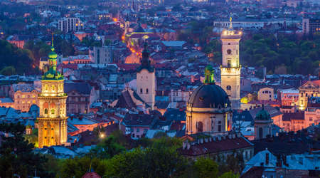 Night Lviv view