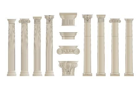 set of greece column with separate capitels vector 일러스트