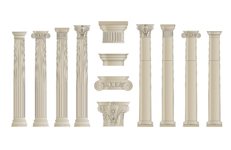 fluted: set of greece column with separate capitels vector Illustration