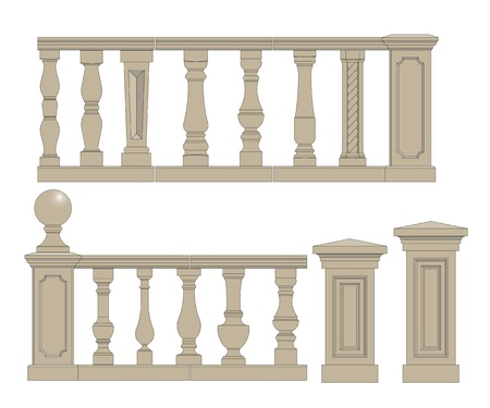 handrail: Set  of random style balusters with stands Illustration