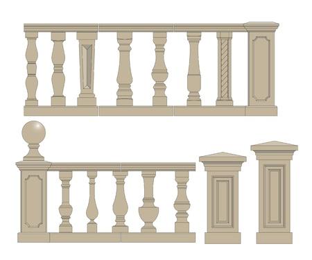 Set van willekeurige stijl balusters met stands Stockfoto - 21260681