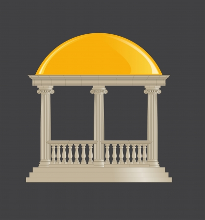 Rotunda classic, ionic order with balusters and roof Vector