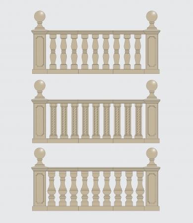 set of architectural element  balustrade, vector Illustration