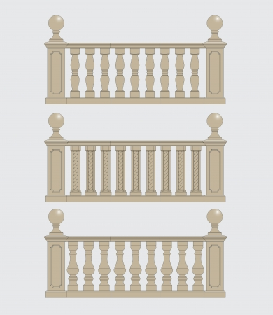 concrete stairs: set of architectural element  balustrade, vector Illustration