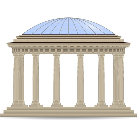 glass dome: stone rotunde with glass dome vector