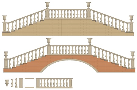 Vector tweeweg ladder en brug, geïsoleerd op witte achtergrond