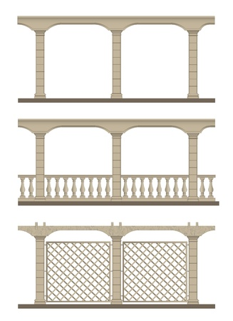 railings: Openwork design to decorate the garden paths and a support for climbing plants. Vector illustration. Illustration