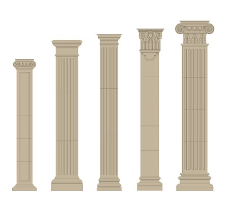set of greece column and pilasters Vector