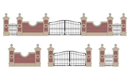 Forged iron gate with stone pillars, isolated