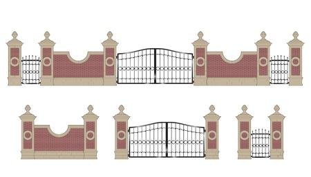 Puerta de hierro forjado con pilares de piedra, aislada Foto de archivo - 22007187