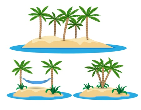 illustration of isolated island with palm trees and hammock Vector